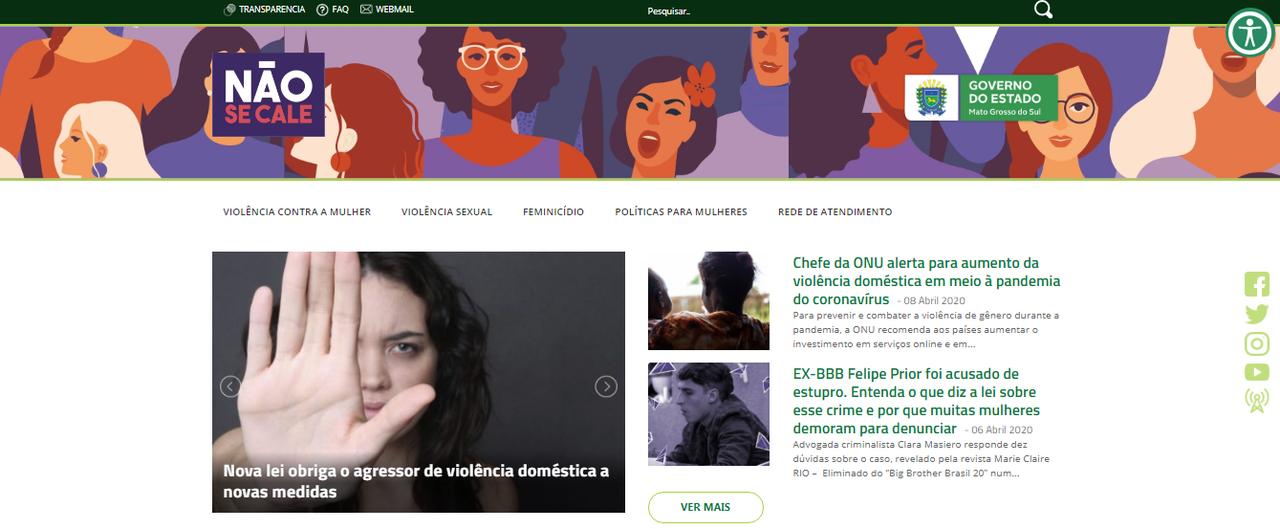 Site aborda as diversas formas de violências de gênero além de apresentar procedimentos e rede de atendimento