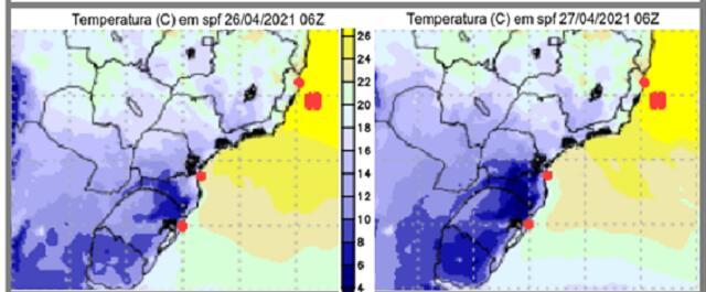 Temperatura estimada para 3h (Brasília) de 26/4/2021 e para 3h (Brasília) de 27/4/2021
